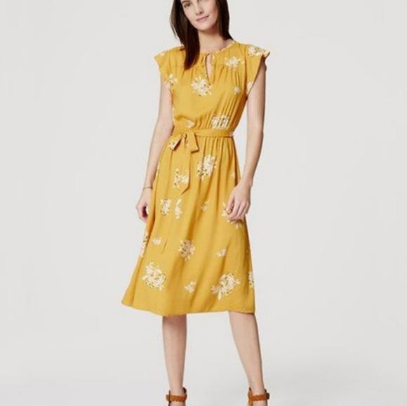 f69c773952 LOFT Dresses   Skirts - Loft Yellow Hydrangea Flutter Dress